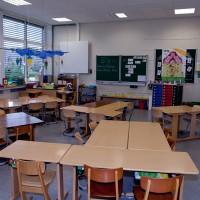Klassenraum mit herkömmlicher Tafel